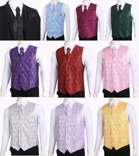 Men's Paisley Waistcoat Vest and Cravat Pocket Square Set For Suit UK Christmas